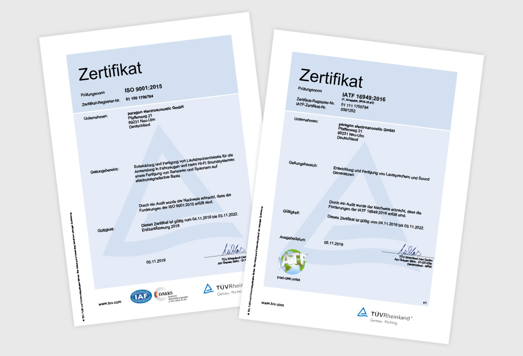 IATF and ISO Certificate